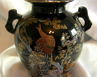 Black Handled Ginger Jar Vase with Gold Peacock Motif | Vintahe