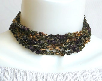 Brown & Green Ladder Yarn Necklace, Crochet Ribbon Choker, Lariat Necklace, Handmade Fiber Necklace, Vegan Necklace, Yarn Jewelry