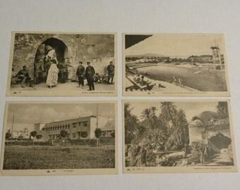4 Vintage Morocco CAP Postcards Nos 53, 165, 217, 229- Fes, Morocco - Pool, High School, Quartier Moulay Abdallah, Marabout de Sidi Haraseem