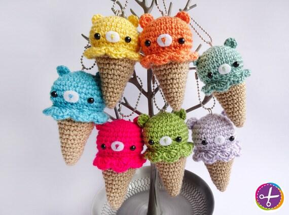 Mini Ice Cream Amigurumi : Bear Ice Cream Amigurumi Crochet Keychain