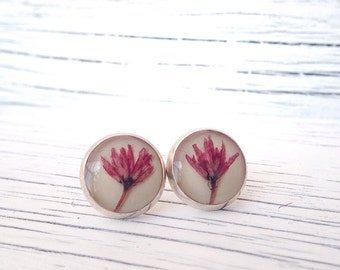 Pink flower earrings, pink earrings for girls, nature jewelry stud earrings, beautiful earrings, real flower earrings, cute earrings design