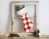 Country Christmas Stocking Made from Vintage Quilt, Cottage Christmas Stocking, Vintage Style Christmas Stocking, Red and White Stocking