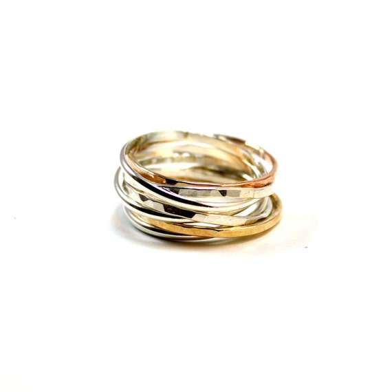 7 Band Interlocking Ring - Customizable - Silver, Gold, Pink Gold - 15 mm Wide - Statement Ring - Family Ring