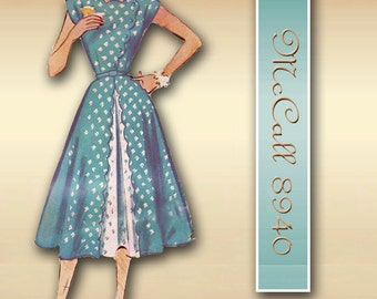 McCalls 8940 1950s Dress Pattern Vintage Fit and Flare with Cap Sleeves and Scalloped Details Unused Factory Folds
