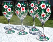 Hand Painted Wine Glasses With Red Flowers And Wine Glass Charms, Mother's Day Gift, Gifts For Her