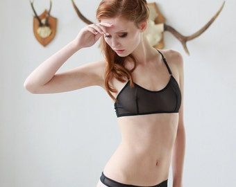 Black Mesh Bralette - See Through Lace and Mesh Lingerie for Women