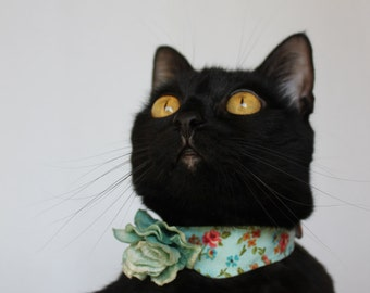 Delicate Cat Collar Accessory with Roses