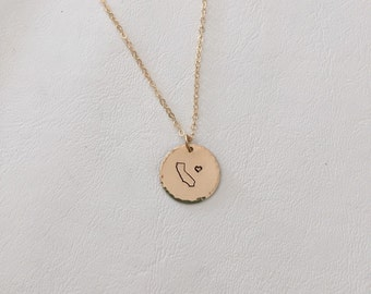 California Love Necklace, Stamped, Disk Necklace, CA Necklace