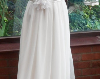 wedding dress white sequined lace feature bodice satin sash and long flowing chiffon skirt satin lined size uk10 and usa size6