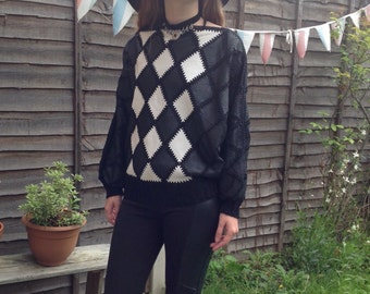 Vintage Taupe Leather Patchwork Sweater  1980s  Knit  Pullover  DiamondS Pattern SALE