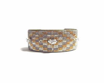 Tribal beadloom bracelet cuff - friendship bracelet, bead loom bracelet, native bracelet, ethnic bracelet, boho bracelet, aztec bracelet