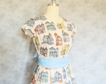San Francisco Victorian Dress -  Rainbow Colorful San Francisco Cotton Short Sleeve