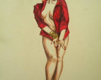 Original Pinup art - Retro decor - Erotic art - Original artwork - Pinup art - Colored pencil drawing - Female figure - Pinup decor - Art