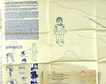 Vintage Cloth Doll, Mail Order Pattern, Laura Wheeler 732, Sewing Transfer, 1940s Uncut, 32 Inch