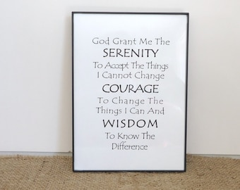 serenity prayer 12 step recovery gift aa al anon sobriety sponsor gift ready to ship wall art framed print