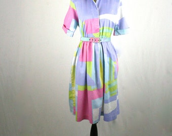 1980s does 1950s Shirtwaist Dress with Pockets Color Block Pastels by Willi