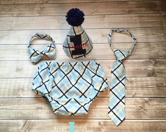 Baby Boy Plaid Cake Smash Set First Birthday Outfit