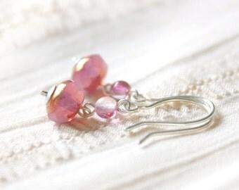 Sweetheart Earrings - Light Pink Faceted Glass Beaded Sterling Silver Dangle Earrings, Handmade Jewellery by Ikuri immortelle, FREE SHIPPING