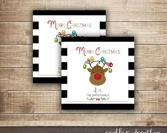 Christmas Gift Tags, Holiday Gifts Tags, Personalized, Reindeer, Gift Enclosure Cards, Christmas Printables, Printable Gift Tags
