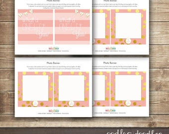 Winter ONEderland, Photo Banner, Girl's First Birthday, Pink and Gold, It's a ONEderful Year, Printable Photo Milestone Banner, 1st Birthday