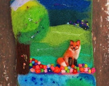 Wool Painting, Whimsical Art, Needle Felted Art, Fox, Fiber Art, Textile Art, Felt Landscape, Scenery, Colorful, Nature, Countryside, Hills