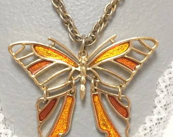 Vintage Gold Tone Butterfly Pendant with Chain (retro 60s 70s autumn fall colors big large moving insect bug cut out figural summer)