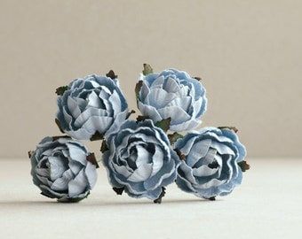 30mm Dusk Blue Paper Peonies (5 pieces) - Small mulberry paper flowers with wire stems [168]