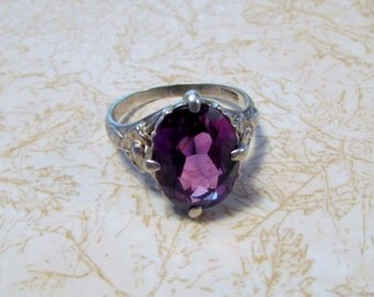 Ring, Purple & Silver, Large Stone, Silver Victorian Setting, Floral Prong Set, Size 8 Ladies, Right Hand Statement Ring - BreezyTownship