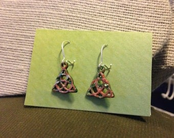 Pink,Green&Silver Handpainted Trinity Knot Earrings