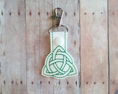 Celtic Triangle Snap Key Fob, Green Embroidered on White Vinyl with Snap, Irish Pride, Made in USA, Ireland, Celtic Key Chain, Bag Tag