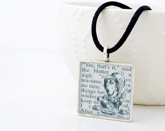 Mad Hatter Alice in Wonderland Necklace - Alice in Wonderland Jewelry - Mad Hatter Tea Party - Book Jewelry - Literary Jewelry