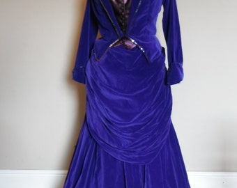 Blue velvet Victorian bustle dress - Steam punk LARP SASS Reenactment -1870s