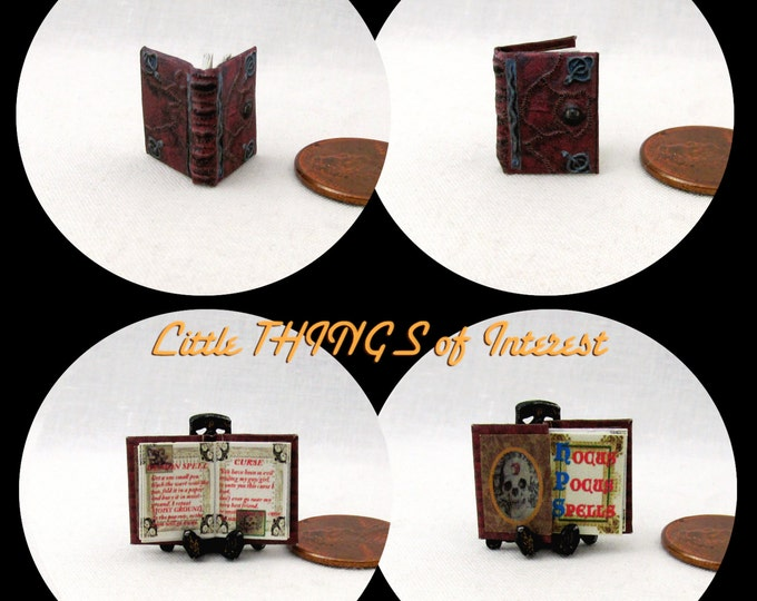 1:24 Scale Book HOCUS POCUS SPELL Book Dollhouse Miniature Book Illustrated Book Spell Book