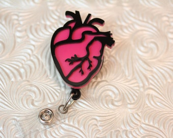 adorable cardiac heart - professional nursing badge holder - retractable - badge reel - badge clip - name badge holder - nurse jewelry