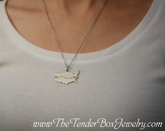 Long Distance Personalized U S Map Necklace Stainless Steel
