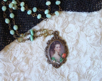 Vintage Asssemblage Necklace Victorian Lady Portrait Necklace Unique Gifts Vintage Portrait Pendant Romantic Gifts ForevermoreJewels