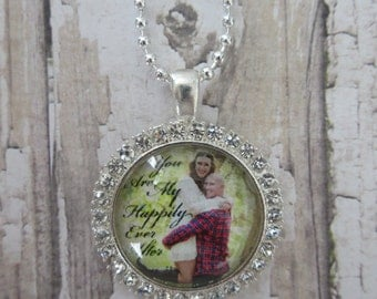 CUSTOM PHOTO Design Send Me Your Favorite Picture Rhinestone Glass Pendant Necklace Wedding Engagement Family