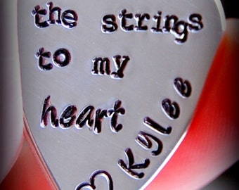 Personalized guitar pick, Custom guitar pick, Hand stamped guitar pick, You play the strings to my heart