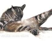 Tabby Cat Art Print - Bathroom Art Decor - Powder Room Art