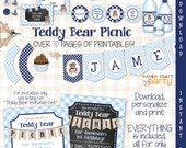 Teddy Bear Blue Picnic Personalized Birthday Party DIY Printable Kit Instant Download Includes Invite & First Birthday Bonus Files!