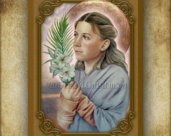 St. Maria Goretti Wood Icon & Holy Card GIFT SET #3133