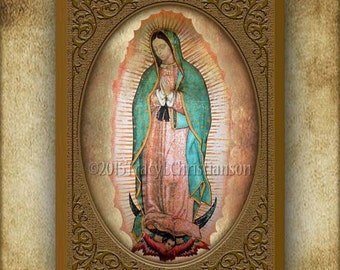 Our Lady of Guadalupe Wood Plaque and Holy Card GIFT SET, Patroness of the Unborn #3034