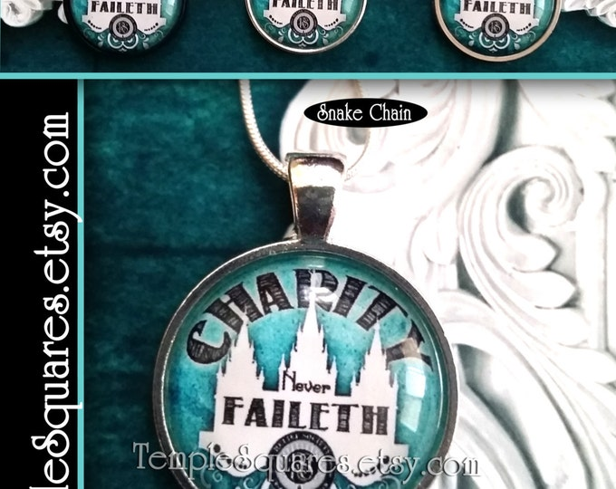 Jewelry Relief Society Emblem Pendant Necklace LDS Charity Never Faileth Presidency, Missionary, Birthday, or Visiting Teaching Gift Turqois