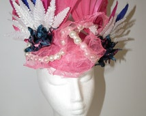 SALE . Rio Festiva.Spring racing hot pink navy blue white statement headpiece Watt Millinery Australia pearls abaca feathers races