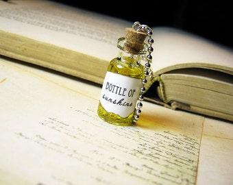 Bottle of Sunshine 2ml Glass Bottle Necklace Charm - Liquid Sunshine in a Vial - Summer Glitter Pendant