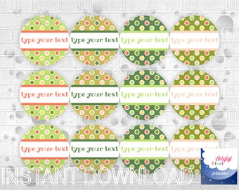 Edit Text Green Round stickers 2.5 inch, editable labels, multicolored dots, favor stickers, printable stickers download