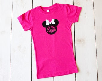 MINNIE MONOGRAM BOW Shirt Youth Fitted Style Girls Glitter Disney Trip Shirts Birthday Shirts