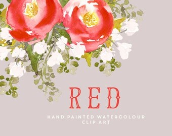 Flower Watercolour Clipart, Hand Painted Graphics - Red