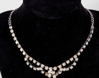 Rhinestone necklace, vintage jewelry, choker,