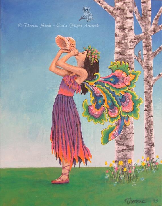 Art Print Fairy Forest Sprite Fine Art By Owlsflightpaintings